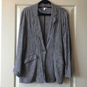 BP navy blue and white check blazer